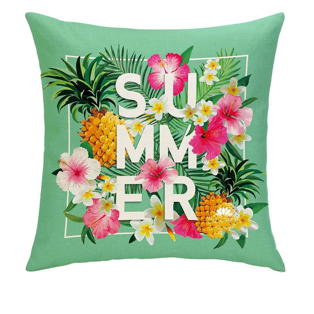 SUMMERTIME TEAL PILLOW COVER