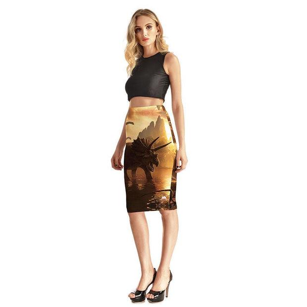 DINOSAUR LAND PENCIL SKIRT