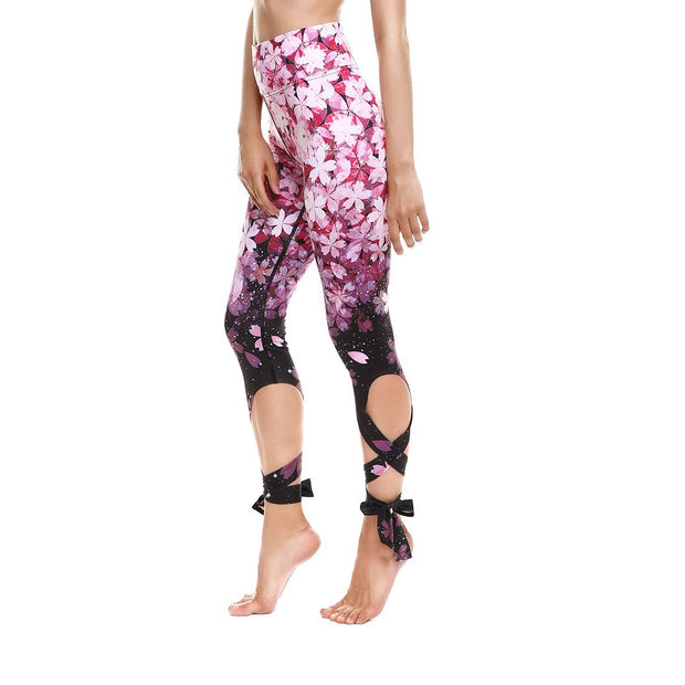 GRADIENT PETALS TIE-UP LEGGINGS