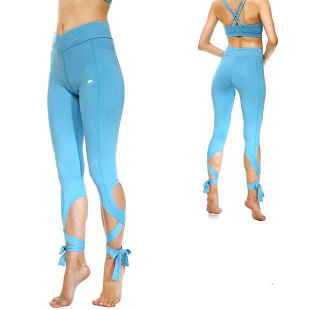 BABY BLUE TIE-UP LEGGINGS