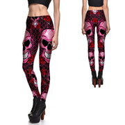 RED SKULLS AND ROSES LEGGINGS