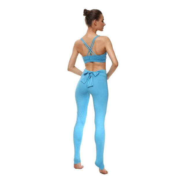 Baby Blue Bow Leggings - Lotus Leggings