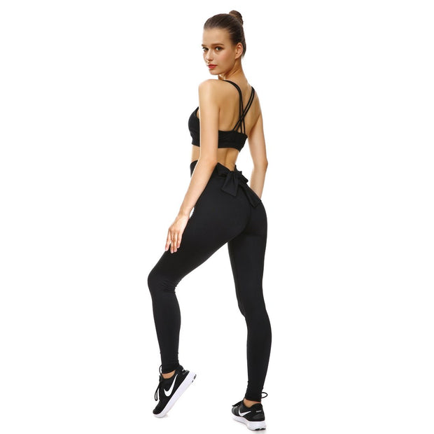 Blackout Bow Sports Set - Lotus Leggings