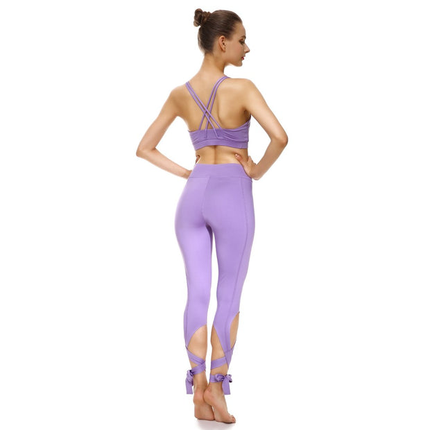 Lavender Tie-Up Sports Set - Lotus Leggings