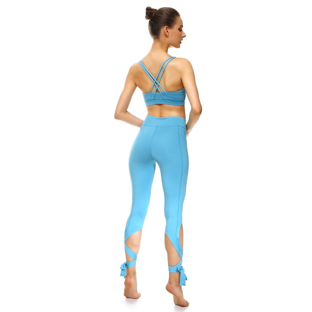 Baby Blue Tie-Up Leggings - Lotus Leggings