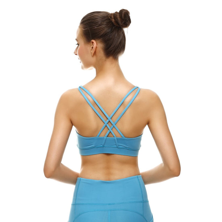 Baby Blue Criss-Cross Bras - Lotus Leggings