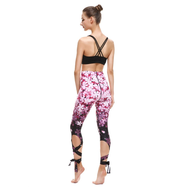 Gradient Petals Tie-Up Leggings - Lotus Leggings