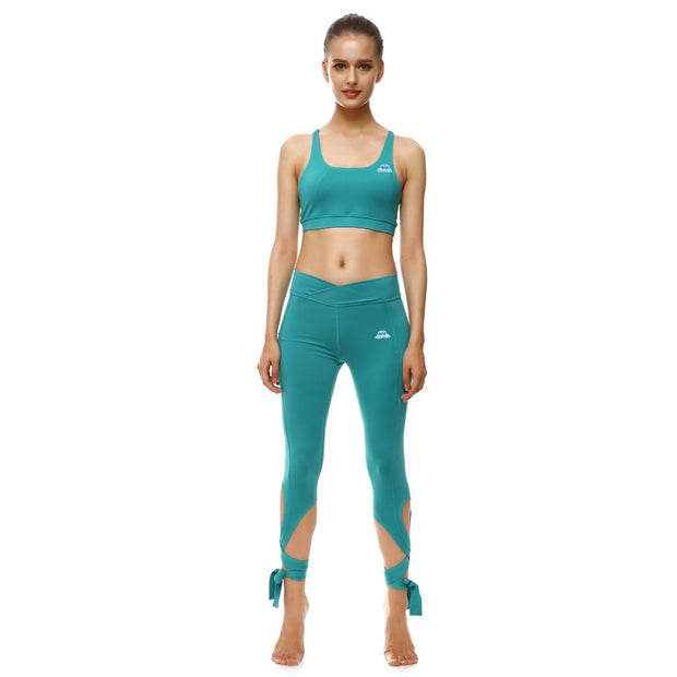 Teal Tie-Up Sports Set - Lotus Leggings