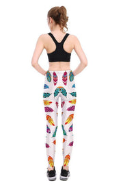 Colorful Feathers Leggings - Lotus Leggings