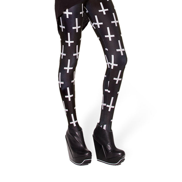 BLACK CROSS LEGGINGS - Lotus Leggings