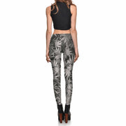 GRAYSCALE MARIJUANA LEGGINGS - Lotus Leggings