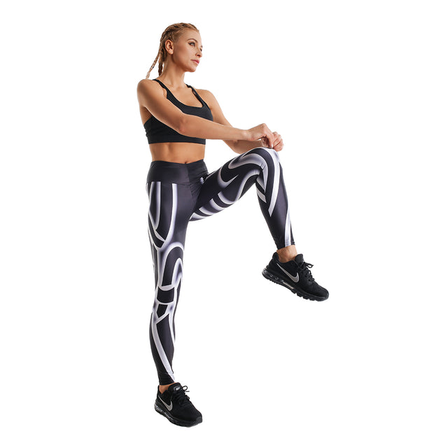 VORTEX BLACK PRINTED LEGGINGS