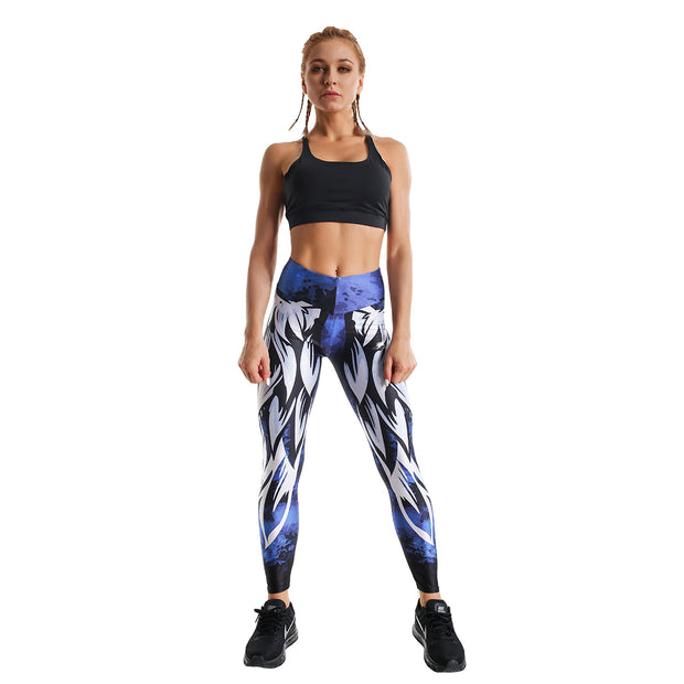 BLUE COSMOS PRINTED LEGGINGS