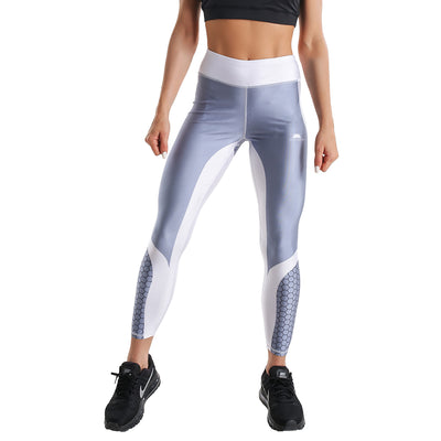 LIGHT GREY HEXAGONAL PRINTED LEGGINGS