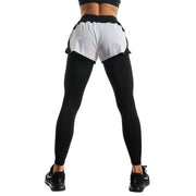 WHITE SHORTS & BLACK FIT COMPRESSION LEGGINGS COMBO