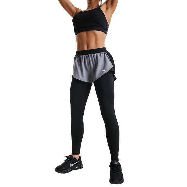GREY SHORTS & BLACK FIT COMPRESSION LEGGINGS COMBO