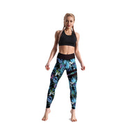 HIGH-RISE BLUE FLORAL LEGGINGS