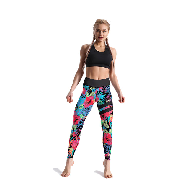 HIGH-RISE BLUE & RED FLORAL LEGGINGS