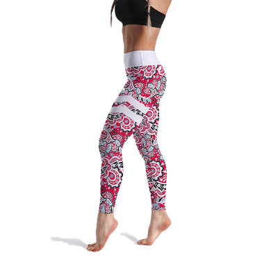 HIGH-RISE RED FLORAL LEGGINGS