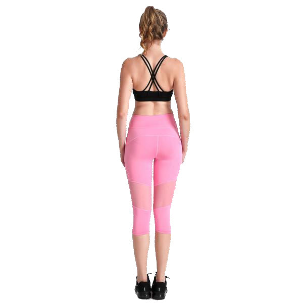PRETTY IN PINK CAPRI MESH LEGGINGS