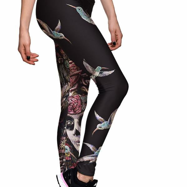 SUGAR SKULL ATHLETIC LEGGINGS - Lotus Leggings