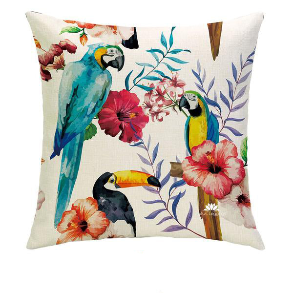 TOUCAN PARROTS PILLOW COVER