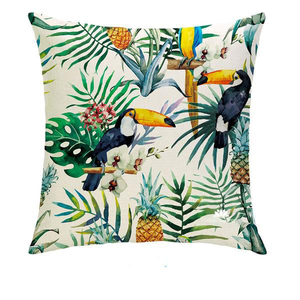 TOUCAN PINEAPPLE PILLOW COVER