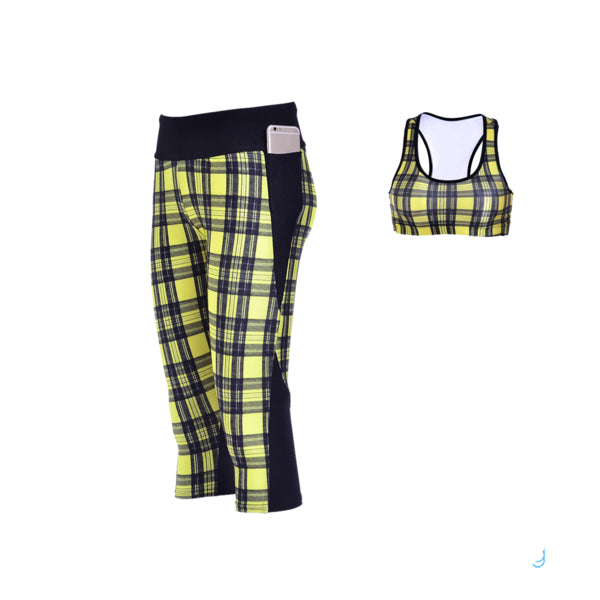 YELLOW PLAID ATHLETIC SET