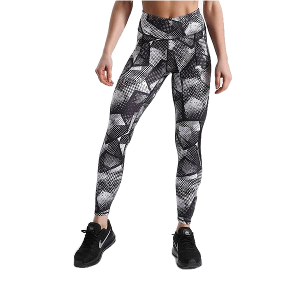 TOUCH OF MESH GEOPRINT GREYSCALE LEGGINGS