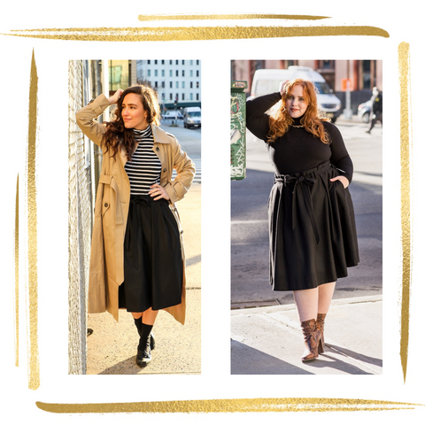 woman on left wears graphic black and white striped turtleneck under camel trench coat paired with blackknee length skirt with 3 pleats and paperbag pleating at waistline and matching belt tied in a bow. woman on right wears same skirt with black turtleneck