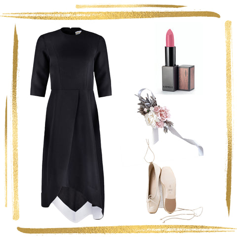 Faux Wrap Dress with Asymmetrical Hem and Contrast Facing