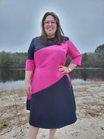 Load image into Gallery viewer, The Point Dress (Navy/Fuchsia)