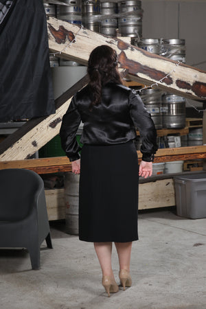 back view of size 10 woman wearing Pencil Skirt with Decorative Zippers