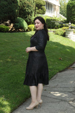 Load image into Gallery viewer, side view of size 10 woman wearing A-line dress with side ruffles