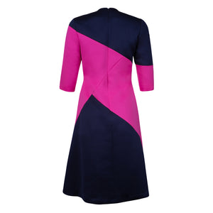 The Point Dress (Navy/Fuchsia)