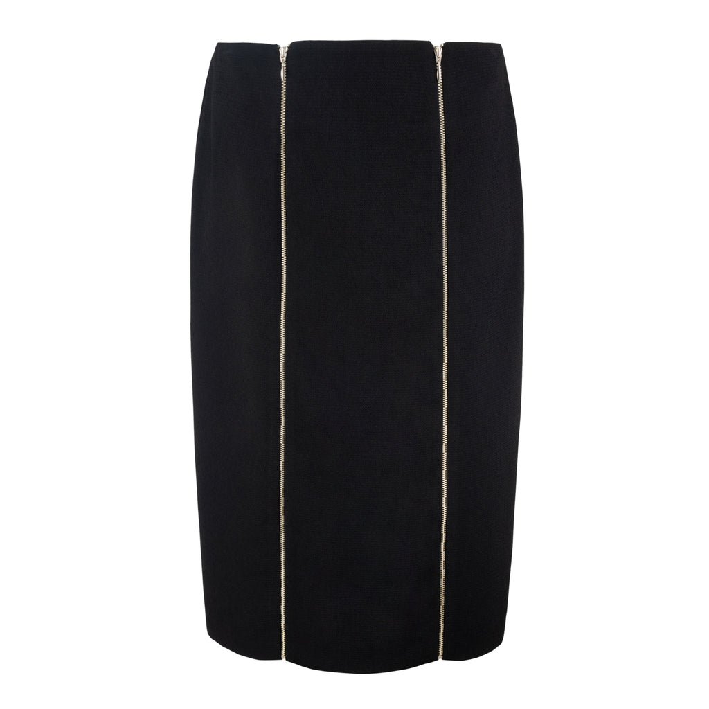 Black Pencil Skirt with Decorative Zippers