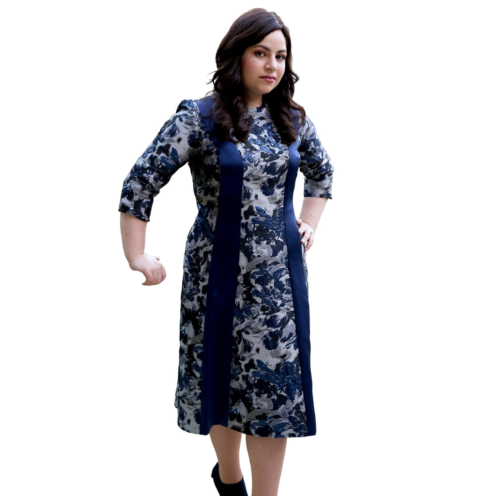 The Tina Dress (Grey/Indigo Abstract)