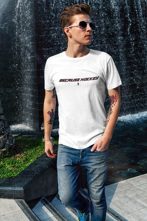 Mens Because Hockey Core Tee White - Conway + Banks Hockey Co.