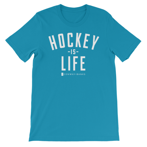 Hockey is Life Tee Mens-Mens-Conway + Banks Hockey Co.-Aqua-Extra Large-Conway and Banks Hockey Co.