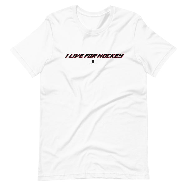 Mens I Live For Hockey Core Tee White - Conway + Banks Hockey Co.