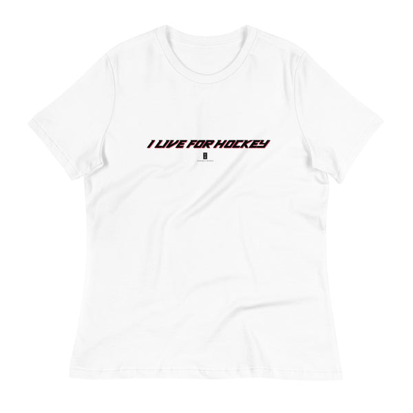 Womens I Live For Hockey Core Tee White - Conway + Banks Hockey Co.