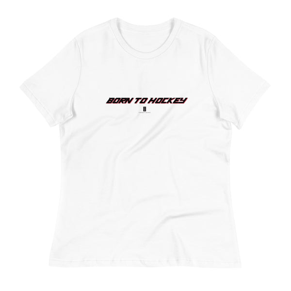 Womens Born To Hockey Core Tee White - Conway + Banks Hockey Co.