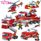 348PCS 4-in-1 Fire Fighting Vehicle Building Blocks