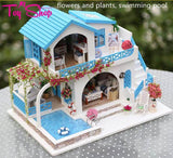 3D Wooden Doll House with Furniture and Swimming Pool
