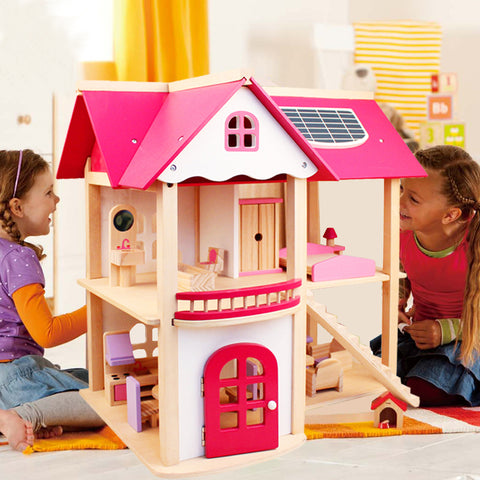 Wooden Dollhouse with Miniature Furnitures Toy Set