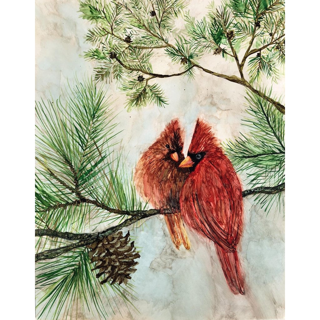 Cardinal Lovebirds : Art Prints and Greeting Cards