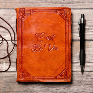 """C'est La Vie"" Handmade Leather Journal"