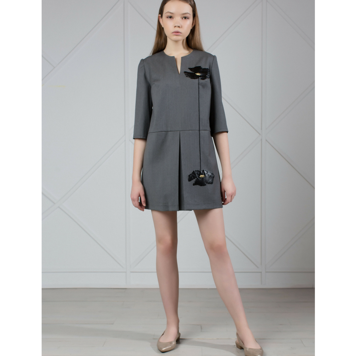 Gray wool mini dress with leather appliqué