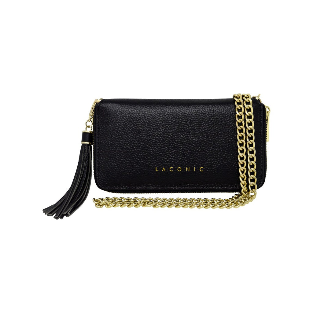 Laconic Style Trouvaille Leather Chain Clutch / Wristlet - Black