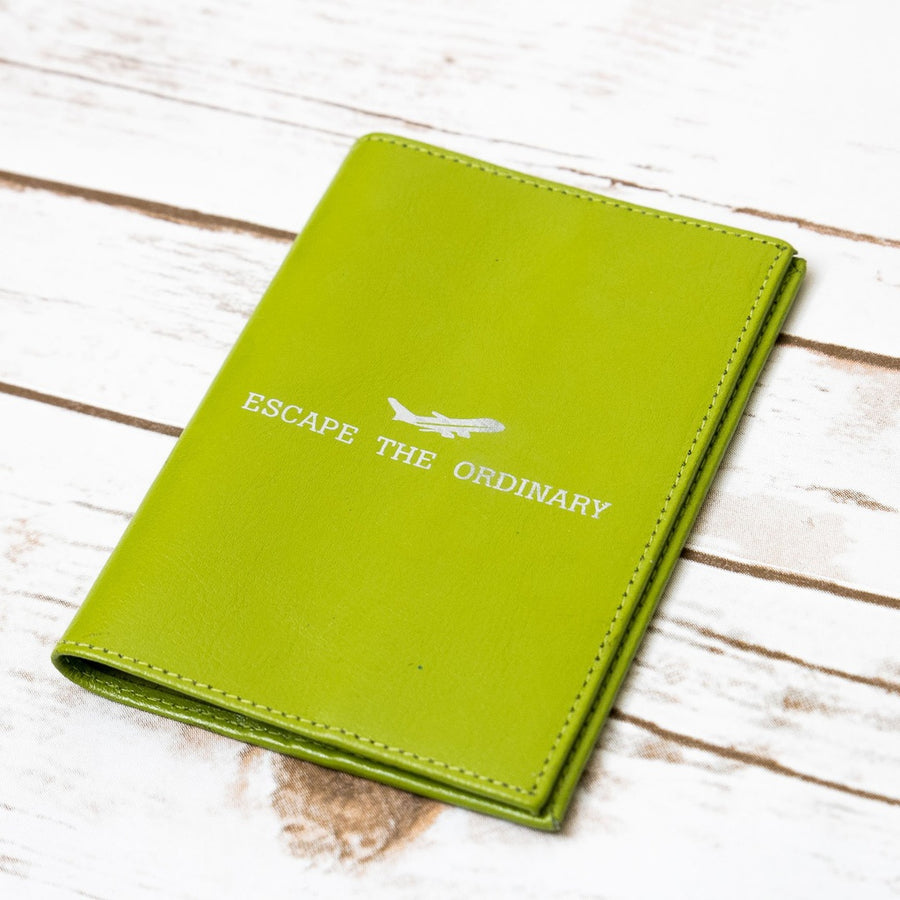 """Escape The Ordinary"" Genuine Leather Passport Cover"